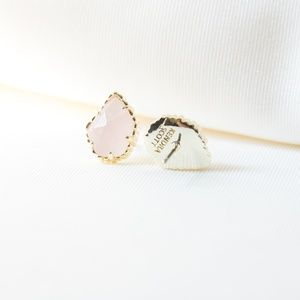 Kendra Scott Tessa Gold Earrings In Rose Quartz